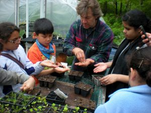 Kids from Holyoke, MA, participate in an agriculture project through Eagle-Eye Institute.